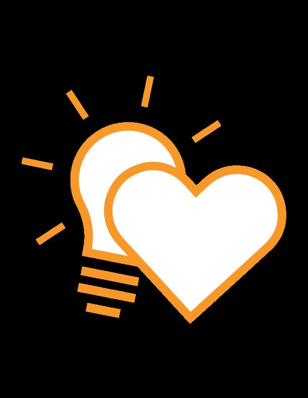 Grafik eines Herzen und einer Glühbirne symbolisieren Herz und Verstand