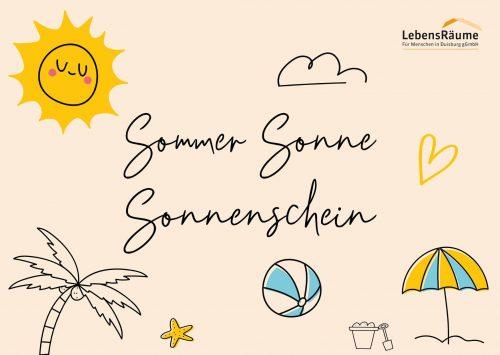 Abbildung einer Postkarte auf der Sommer, Sonne, Sonnenschein geschrieben steht.
