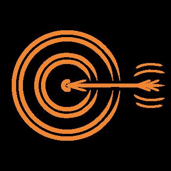 Icon Grafik Pfeil schießt ins Ziel